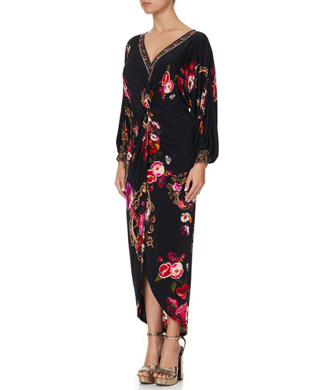 Image 4 of 5: Camilla Twist-Front Floral High-Low Dress