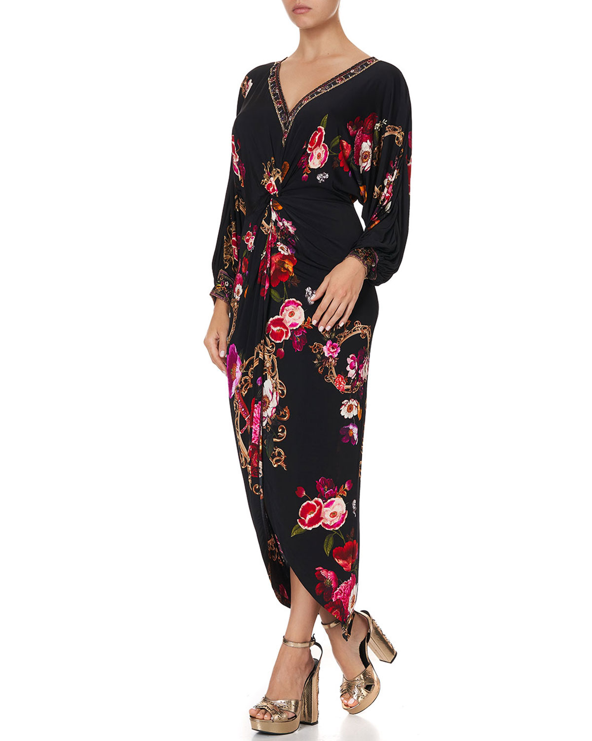 Camilla Twist-Front Floral High-Low Dress
