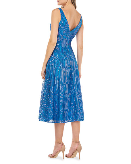 Image 2 of 2: Carmen Marc Valvo Infusion V-Neck Novelty Sequin A-Line Dress
