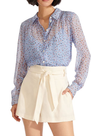 Veronica Beard Dazed Smocked Button-Front Shirt