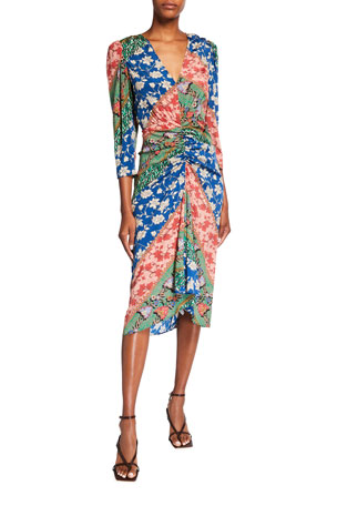 Veronica Beard Mary Ruched Patchwork Dress