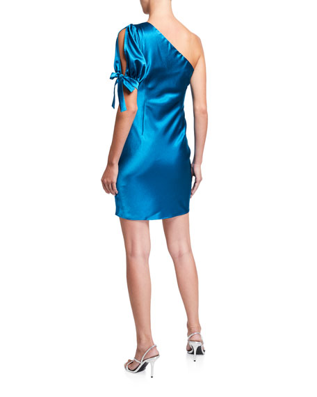 Image 2 of 2: Aidan by Aidan Mattox One-Shoulder Liquid Satin Cocktail Dress