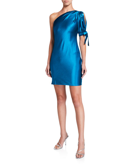 Image 1 of 2: Aidan by Aidan Mattox One-Shoulder Liquid Satin Cocktail Dress