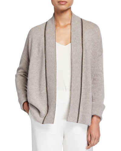 Neiman Marcus Cashmere Collection Chain Trim Cashmere Cardigan with Cuff