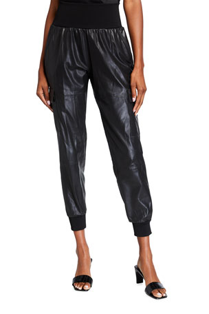 cinq a sept Giles Leather Jogger Pants
