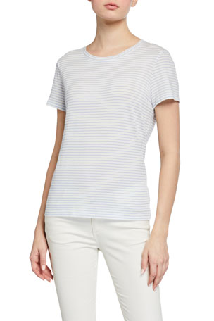 Vince Pencil Stripe Essential Crewneck T-Shirt