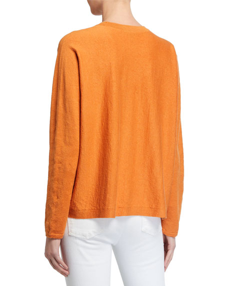 Image 2 of 2: Eileen Fisher Long-Sleeve Boxy Organic Linen Crepe Sweater