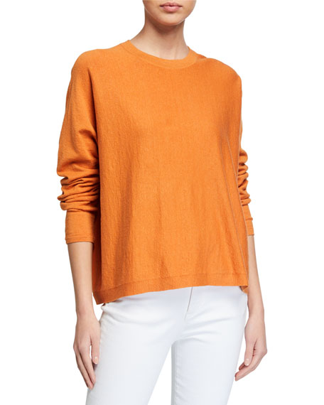 Image 1 of 2: Eileen Fisher Long-Sleeve Boxy Organic Linen Crepe Sweater