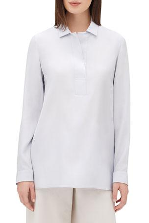 Lafayette 148 New York Finn Long-Sleeve Silk Blouse