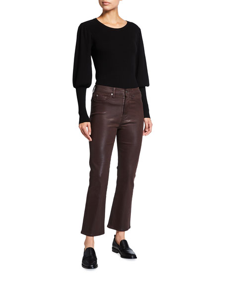 Image 3 of 3: 7 for all mankind High-Waist Slim Kick Coated Pants