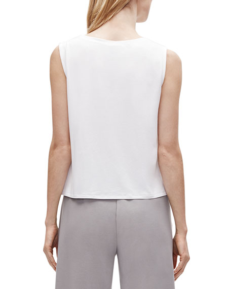 Image 3 of 3: Eileen Fisher V-Neck Button-Front Sleeveless Top