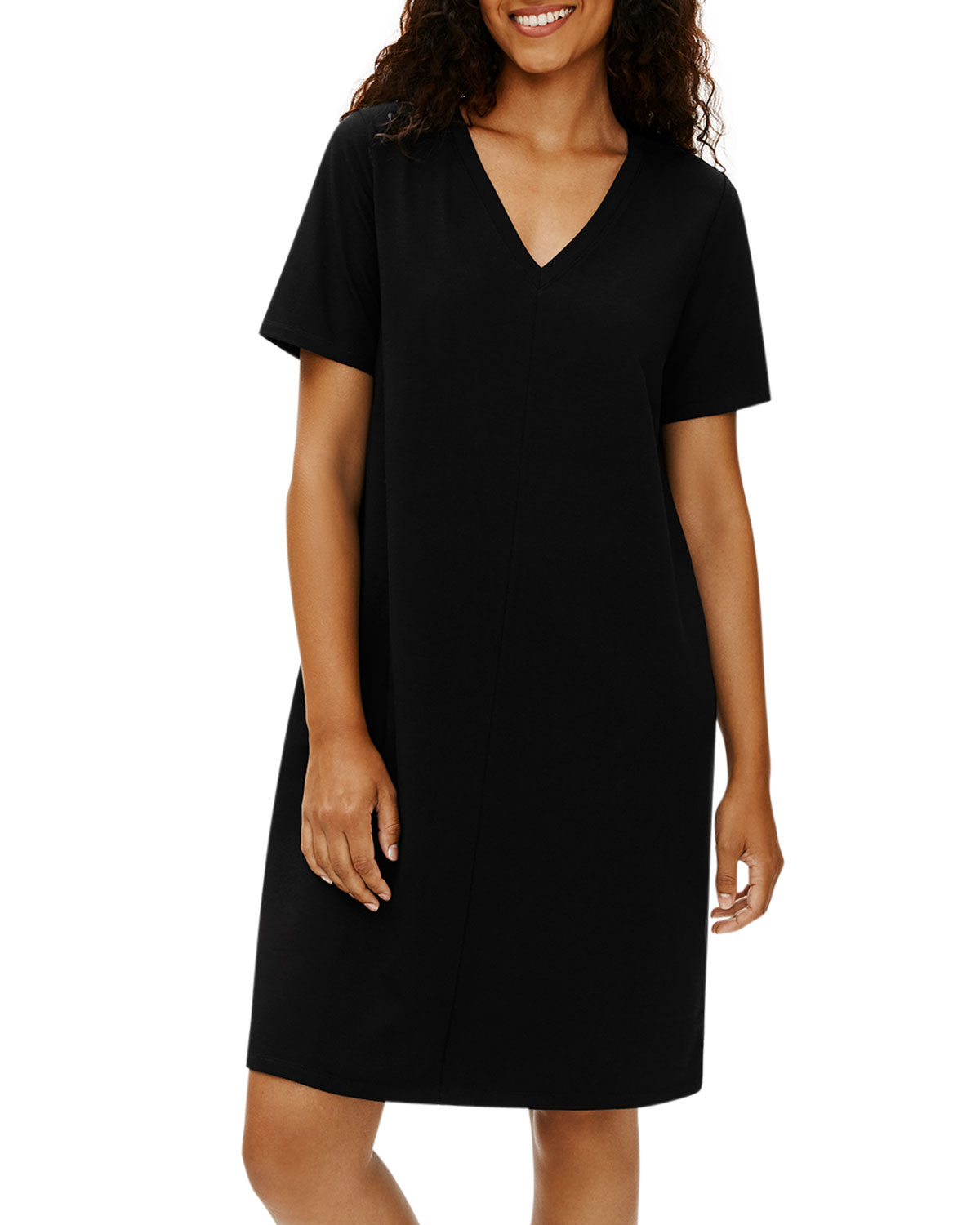 Eileen Fisher Plus Size V-Neck Organic Stretch Cotton Jersey Dress