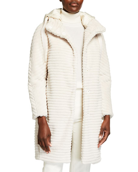 Image 2 of 4: Herno Striped Ecofur Coat with Removable Hood