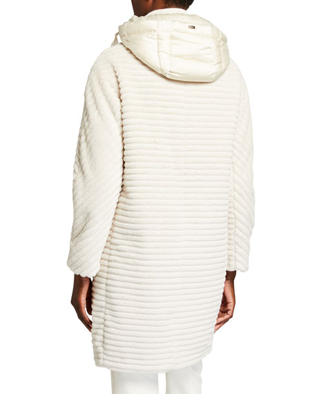 Image 3 of 4: Herno Striped Ecofur Coat with Removable Hood