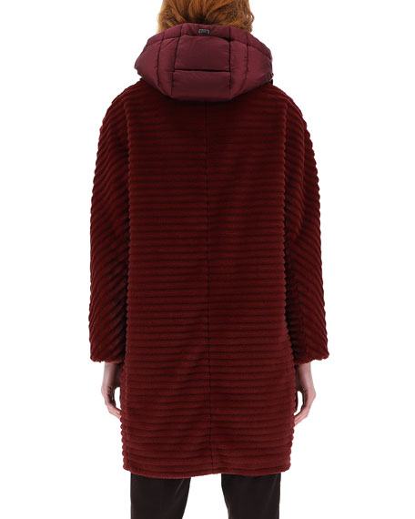 Image 4 of 4: Herno Striped Ecofur Coat with Removable Hood