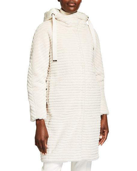 Image 1 of 4: Herno Striped Ecofur Coat with Removable Hood
