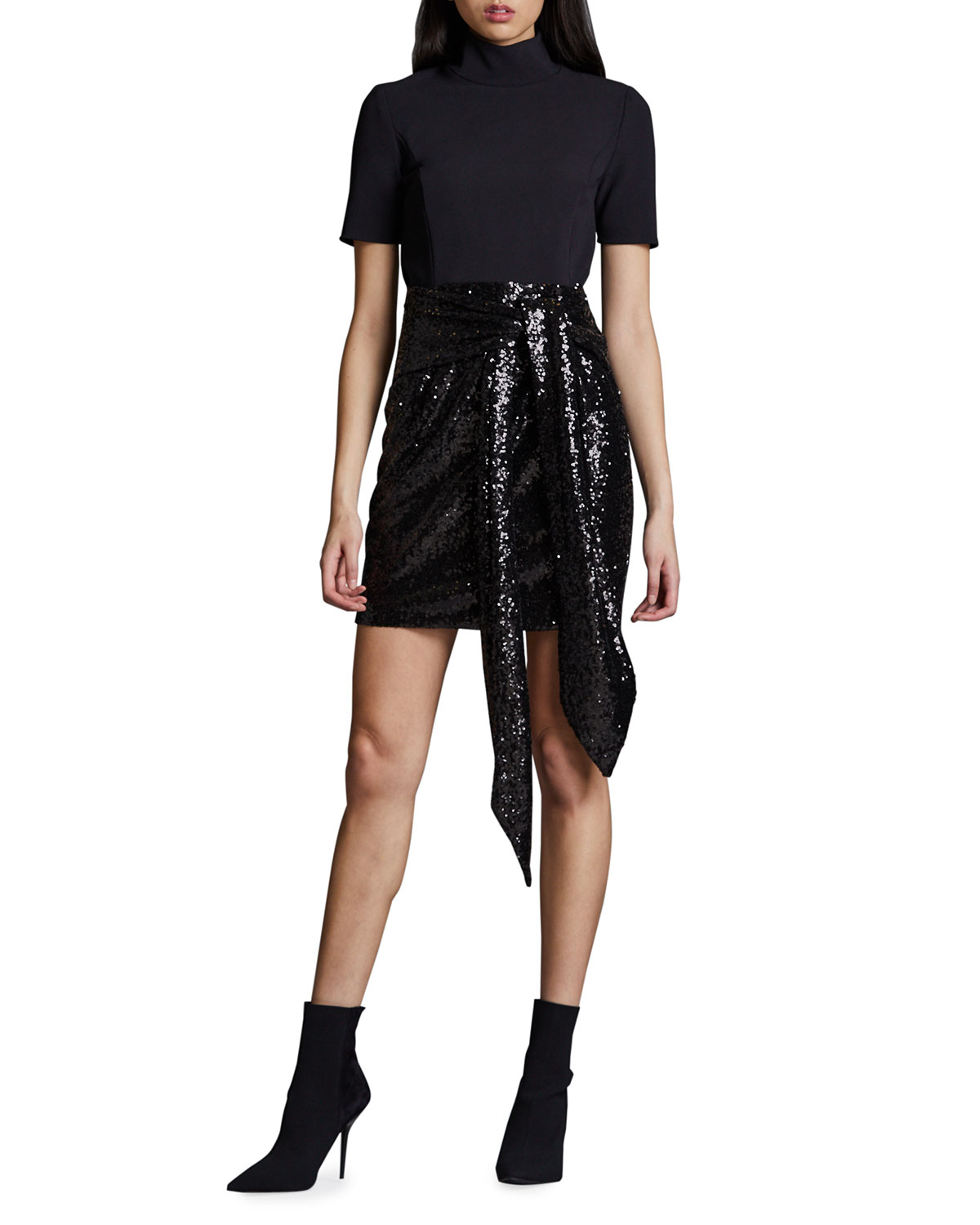 Toccin Short-Sleeve Mini Combo Dress with Sequin Skirt
