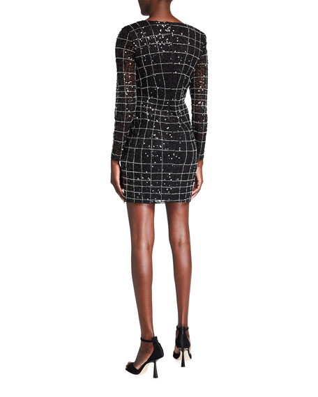 Image 2 of 2: Aidan by Aidan Mattox Sequin Spider Web Long-Sleeve Illusion Dress