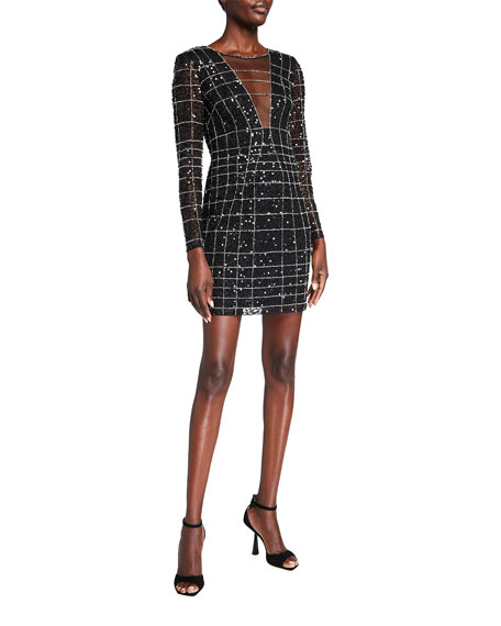 Image 1 of 2: Aidan by Aidan Mattox Sequin Spider Web Long-Sleeve Illusion Dress