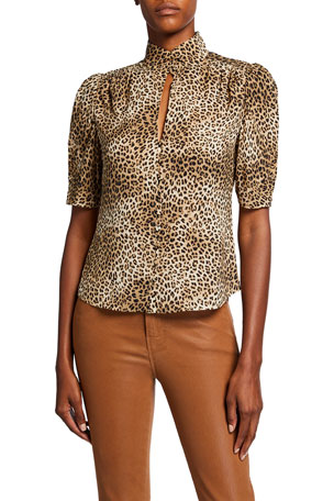 FRAME Anabelle Leopard-Print High-Neck Top $348.00
