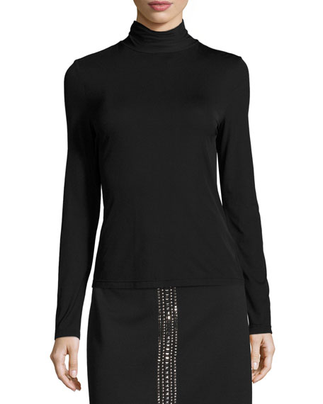 Nuda Turtleneck Jersey Top, Caviar