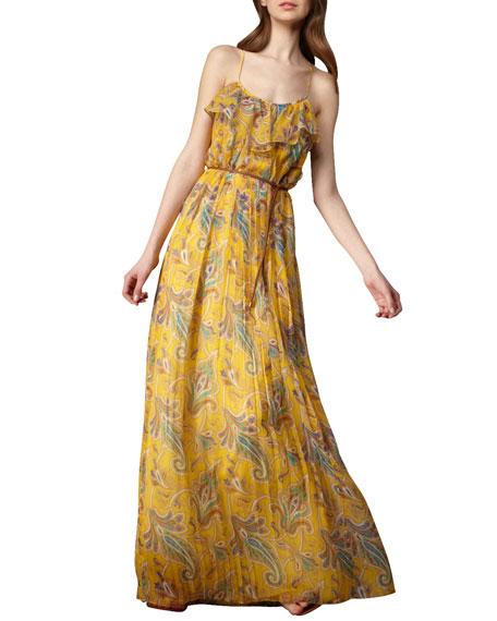Printed Plisse Maxi Dress
