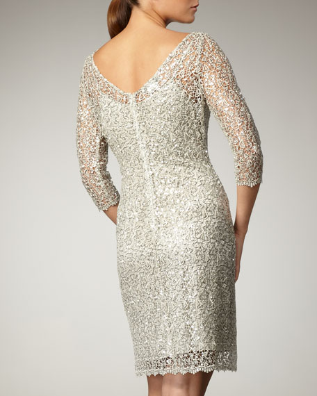 Illusion-Sleeve Beaded Dress