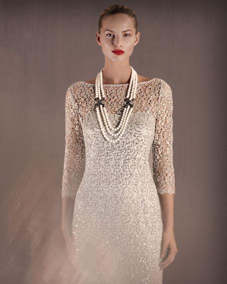 Illusion-Sleeve Beaded Dress