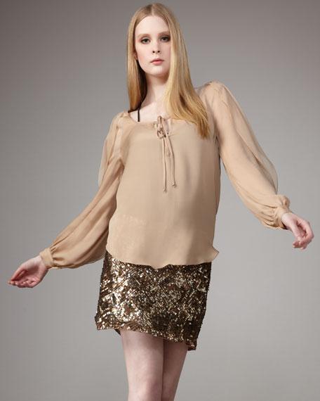 Sequined Mesh Miniskirt