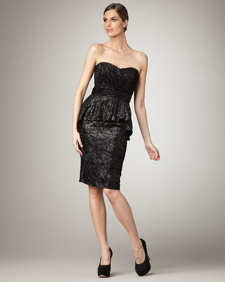 Badgley MischkaStrapless Peplum Cocktail Dress