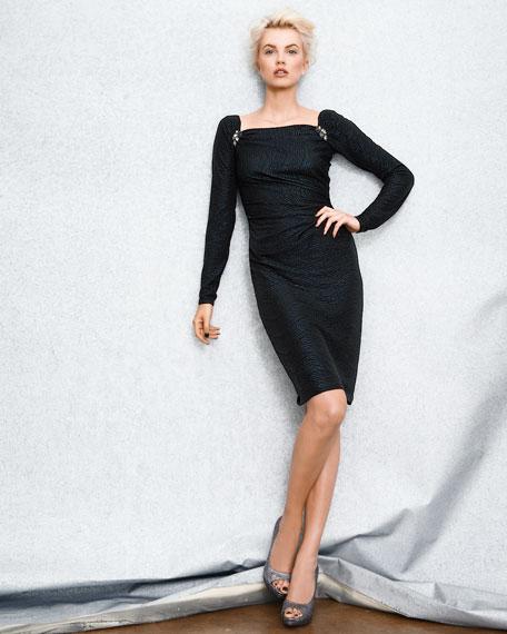 Long-Sleeve Matelasse Dress