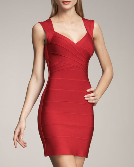 Cross-Bust Open-Back Bandage Dress