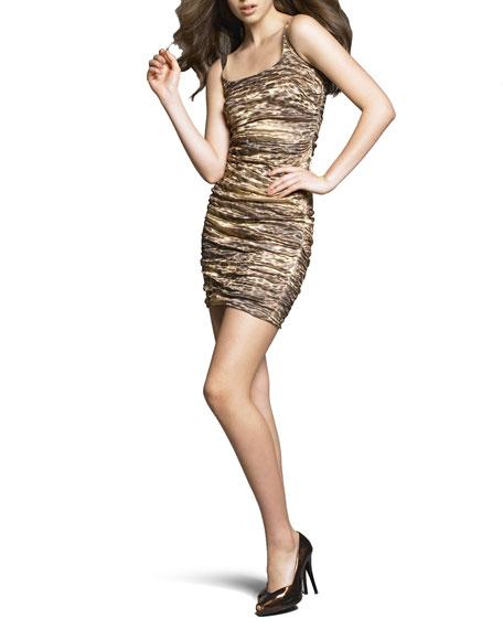 Animal-Print Techno Metal Dress