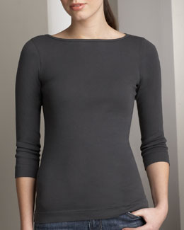 Three Dots Bateau-Neck Tee