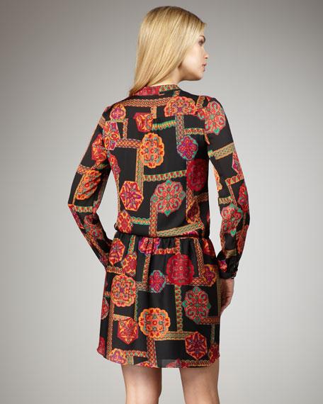 Ruffle-Front Printed Dress