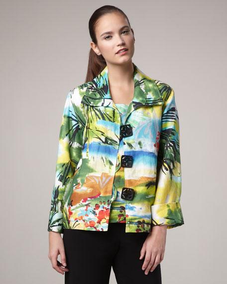 Island-Print Boxy Jacket