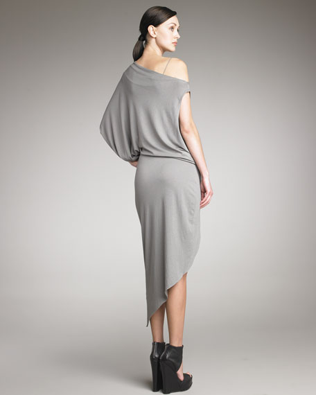 Feather Jersey Off-Shoulder Dress