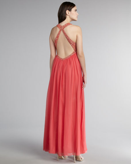 Halter-Neck Bead-Trim Gown