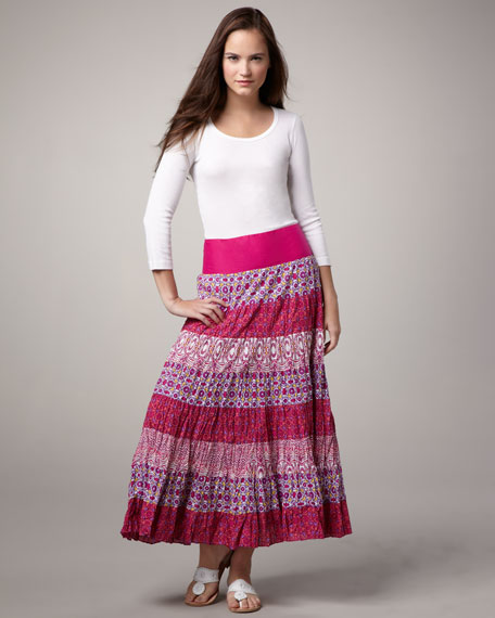 Tiered Crinkled Maxi Skirt, Women's