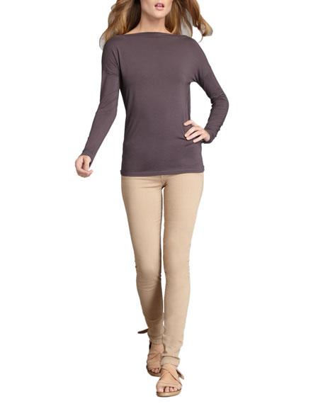 Calgary Zipper-Cuff Skinny Jeans, Desert Tan