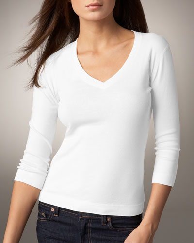 Three Dots Deep V-Neck Tee, Women's