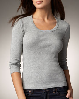Three Dots Scoop-Neck Tee, Women's
