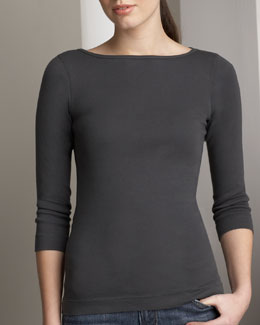 Three Dots Bateau-Neck Tee, Women's