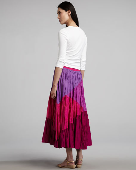 Crinkled Colorblock Skirt