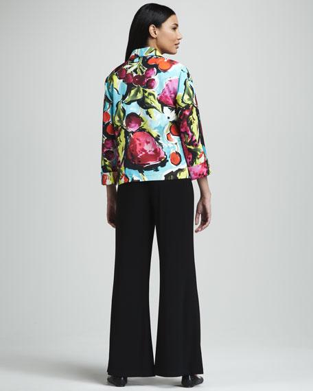 Fruit-Print Pique Jacket, Petite