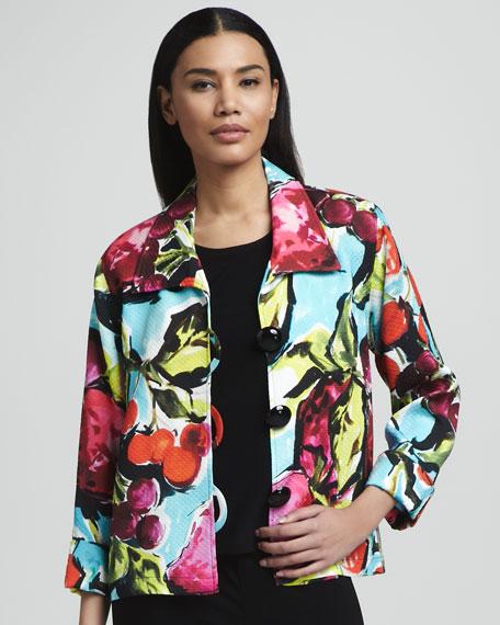 Fruit-Print Pique Jacket