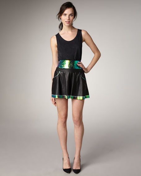 Iridescent-Panel Leather Skirt