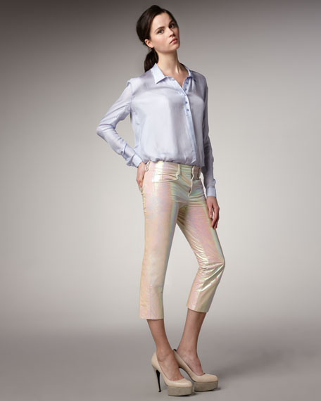 Coated Leather Pants