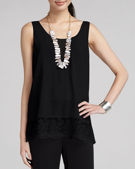 Long Lace-Trim Silk Tank