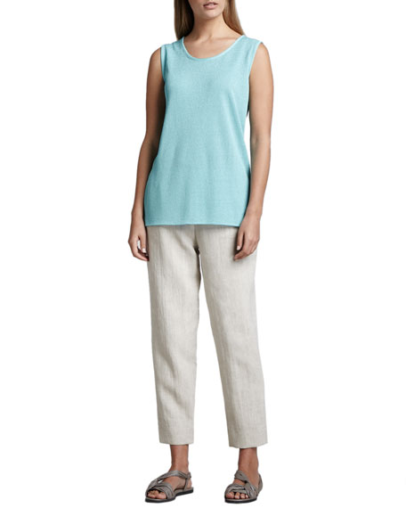 Linen Capri Pants, Natural